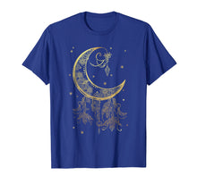 Afbeelding in Gallery-weergave laden, Mystical Pagan Filigree Moon and Stars Shimmer Gold Shirt
