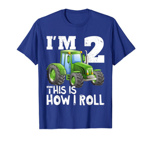 Kids Farm Tractor 2nd Birthday Party Shirt Two Years Old