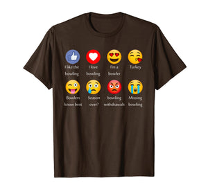 I Like Love Bowling Funny Emoji Emoticons Graphic Tee Shirt