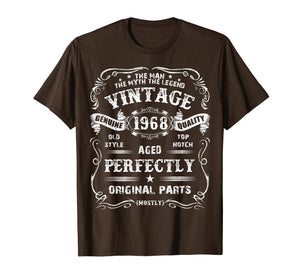 Mens 51th Birthday T-Shirt Legend Vintage 1968 Original Parts Tee