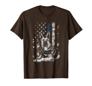 Blue Line K9 American USA Flag German Shepherd Police Shirt