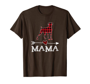 Womens Red Plaid Mama Boxer Dog Mom Buffalo Pajama T-Shirt