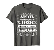Afbeelding in Gallery-weergave laden, April 1936 Retro T-Shirt Vintage 83rd Birthday Decorations