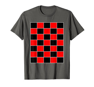Funny Checkerboard Shirt Board Games Black & Red for Men