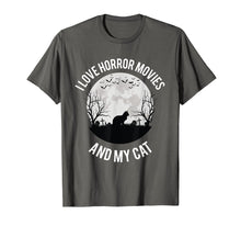 Afbeelding in Gallery-weergave laden, I Love Horror Movies And My Cat T-Shirt