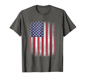 USA Flag T-shirt 4th July 4 Red White Blue Stars Stripes Tee