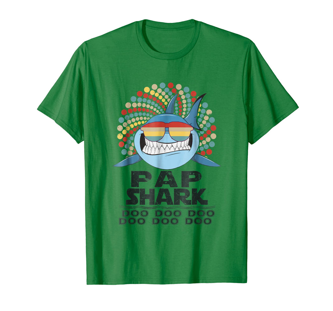 Mens Retro Vintage Pap Shark Tshirt Gift For Father Grandpa