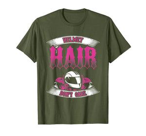Biker Chick Shirt Motorcycle Helmet Hair Dont Care Pink