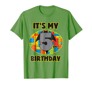 Birthday Boys Shirt Age 5 Bat Superhero Bricks Blocks