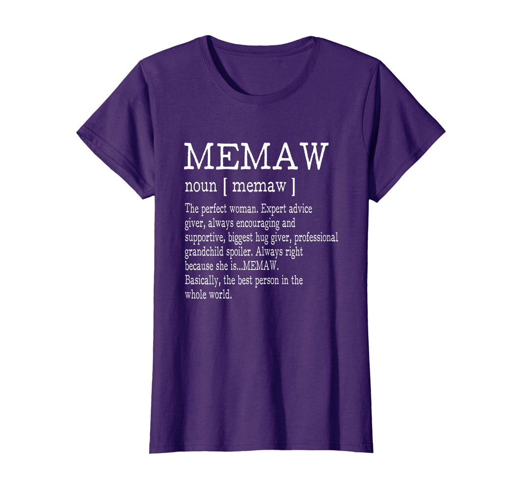 Memaw Definition Grandma Mother Day Gifts Women T-Shirt