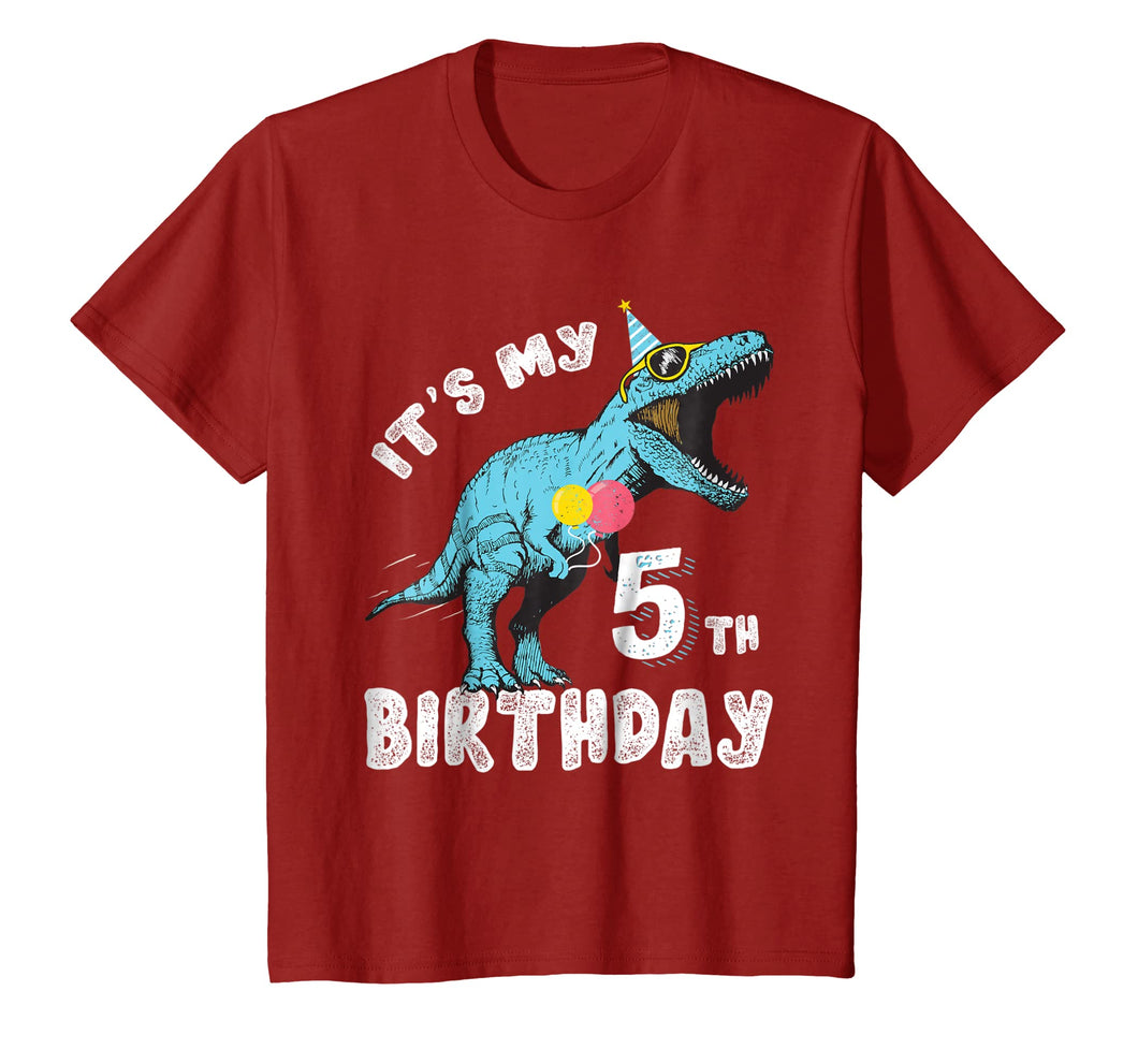 It's My 5th Birthday Dinosaur Party Shirt for Boy Age 5