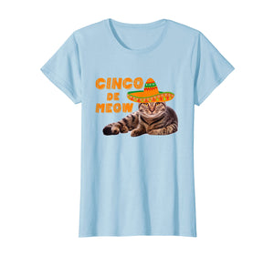 Mens Cinco De Meow T-Shirt Funny Cat Cinco De Mayo