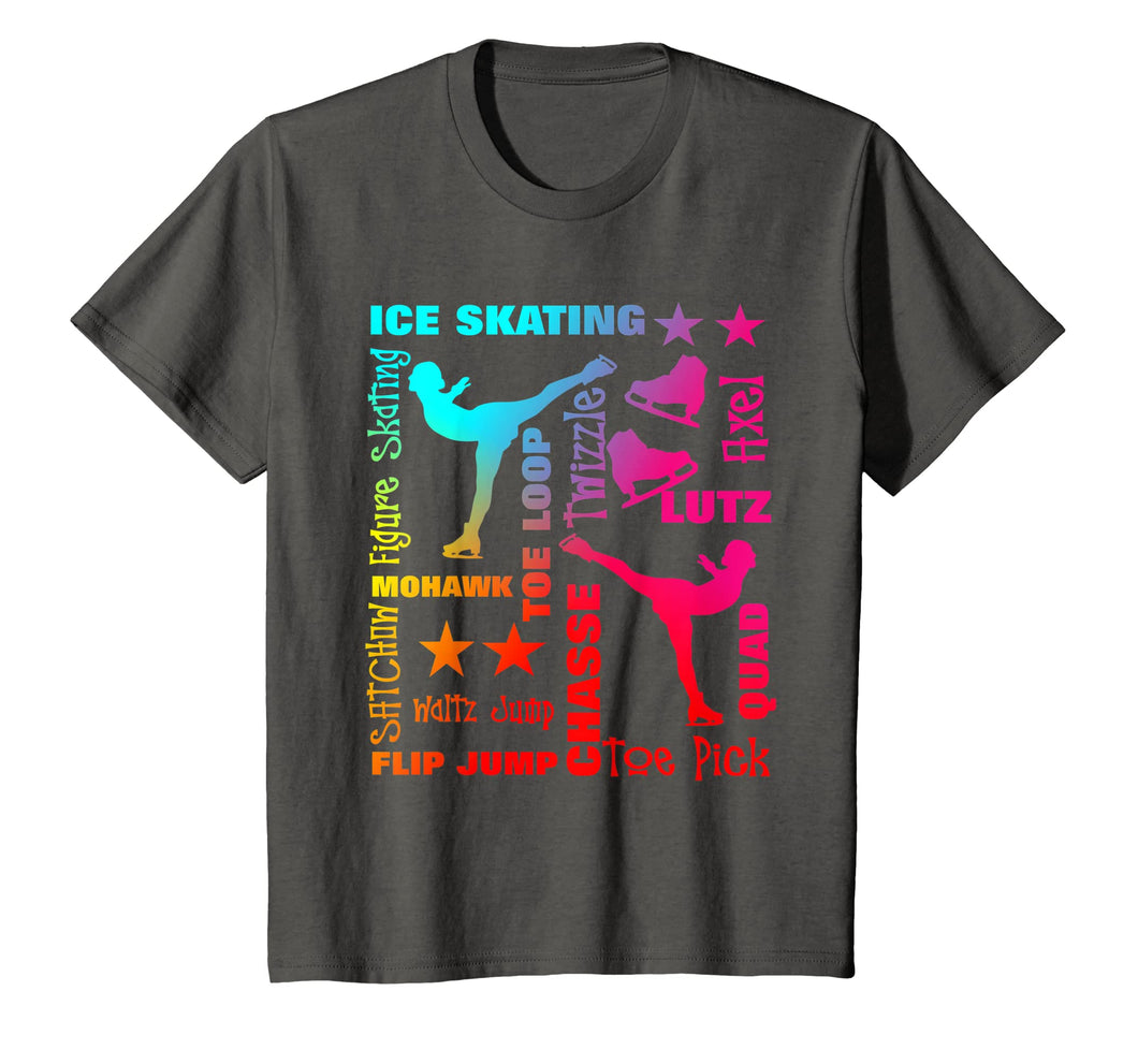 Ice Skating Theme Rainbow Typography Fun T Shirts