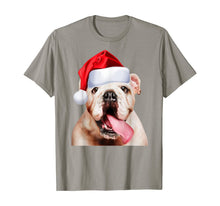 Afbeelding in Gallery-weergave laden, White English Bulldog Santa Hat Cute Image Christmas Gift T-Shirt