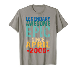Legendary Awesome Epic Since April 2005 14 Years Old T Shirt