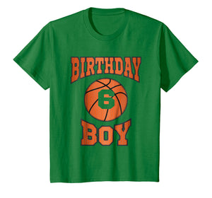 Kids 6 Years Old Boy 6th Birthday T-shirt Basketball Theme Gifts
