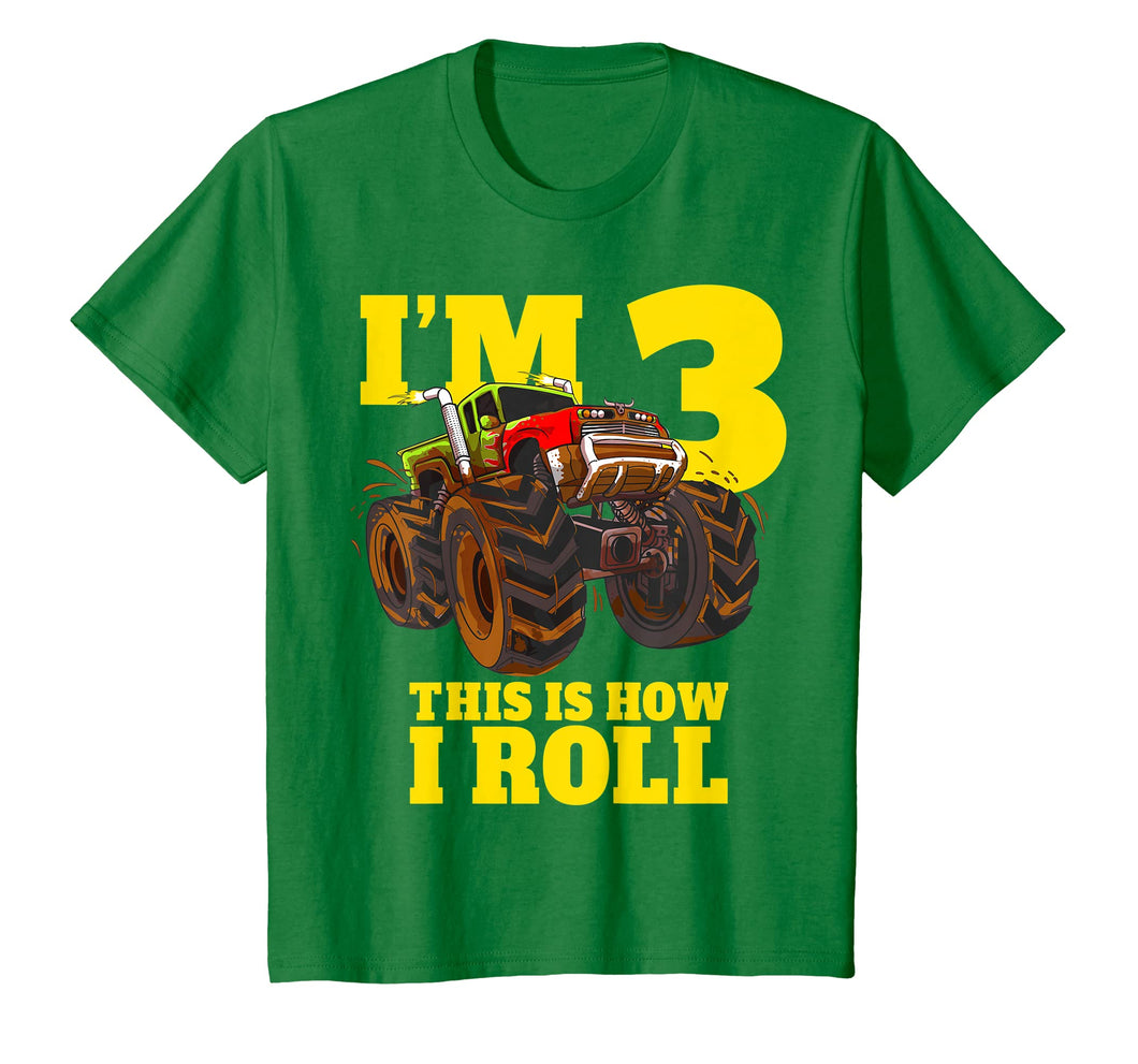 Kids Monster Truck 3rd Birthday T Shirt Boy 3 Year Old Gift Tee