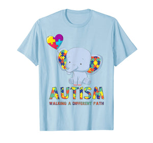 Autism Elephant Walking A Different Path T Shirt For Kids