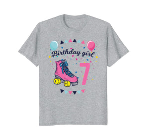 Birthday Girl 7 Roller Skates Kids Birthday T-shirt