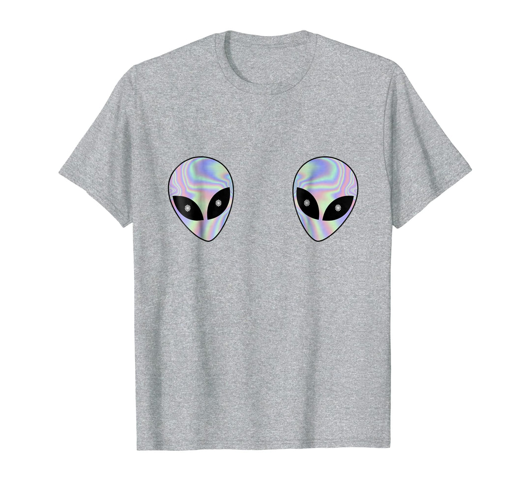 Alien Heads Boobs Shirt Colorful Rave Ufo Shirt Believe Tee