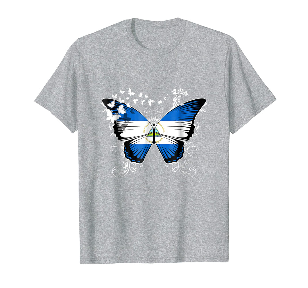 Nicaragua Flag Shirt Butterfly Graphic T Shirt