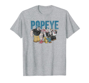 Popeye Vintage Distressed Group With Logo T-shirt