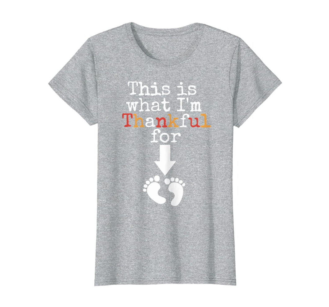 Womens Womens Thanksgiving Pregnancy Announcement Fall Baby Reveal T-Shirt