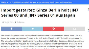 Spirituosen-Journal - Import gestartet: Ginza Berlin holt JIN7 aus Japan