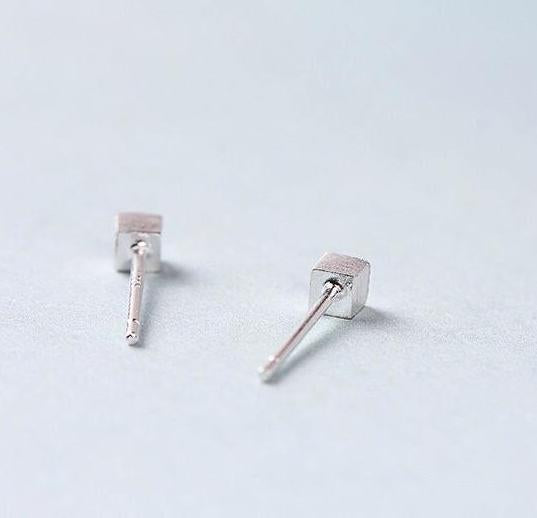 Brushed Sterling Silver Cube Studs