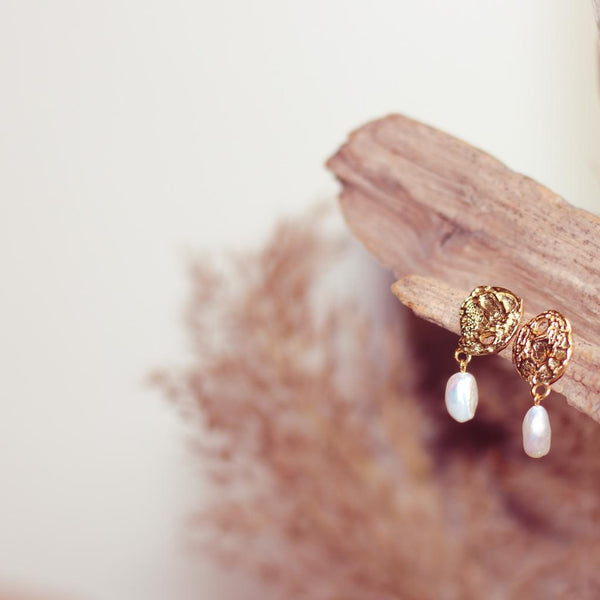 Hammered Gold Pearl Earrings