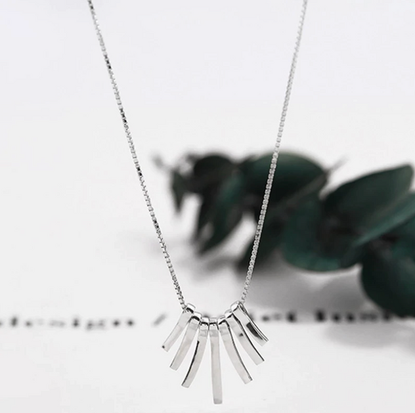 Sterling Silver Fan Necklace