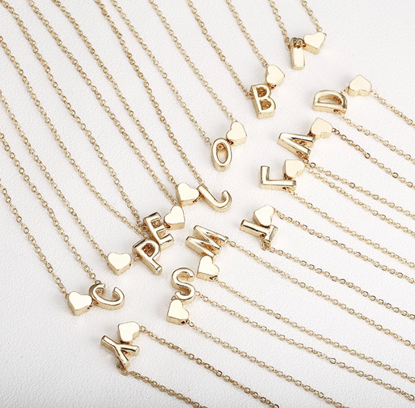 Heart & Initial Charm Necklace