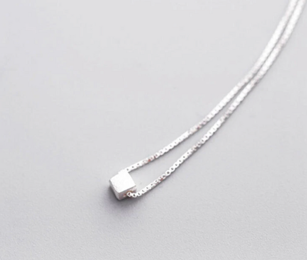 Brushed Sterling Silver Cube Necklace