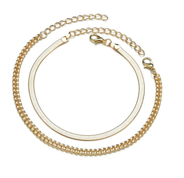 Twin Chain Gold Anklet