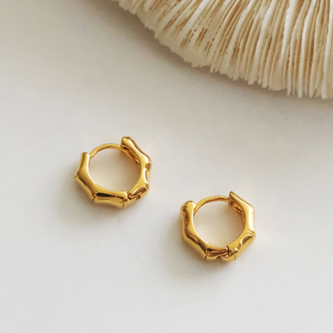 18kt Gold-Plated Bamboo Mini Hoop Earrings