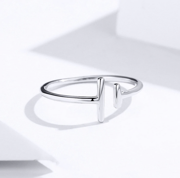 Platinum-Plated T Ring