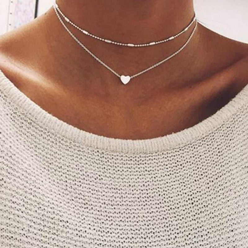 Heart Charm Double Necklace from Embellish | London
