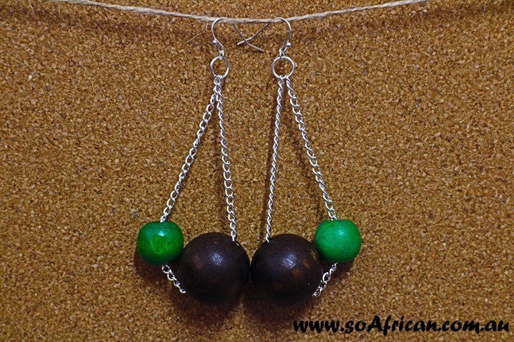 Wooden Earrings - Large Dark Brown (or Cream) and Small Bright Colour