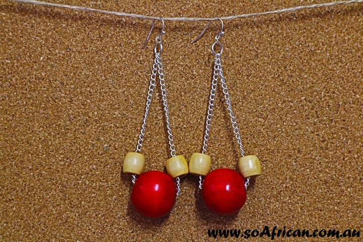 Wooden Earrings - Large Ruby Red and Small Neutral