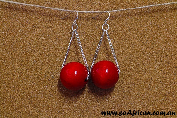 Wooden Earrings - Large Ruby Red