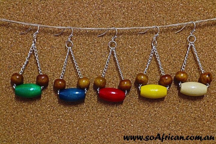 Wooden Earrings - Large Bright Oval and Small Brown Beads