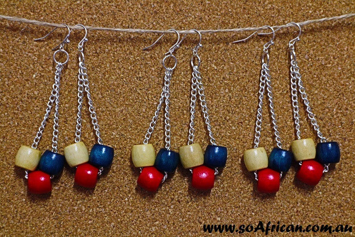 Wooden Earrings - Blue, Red and Cream Beads