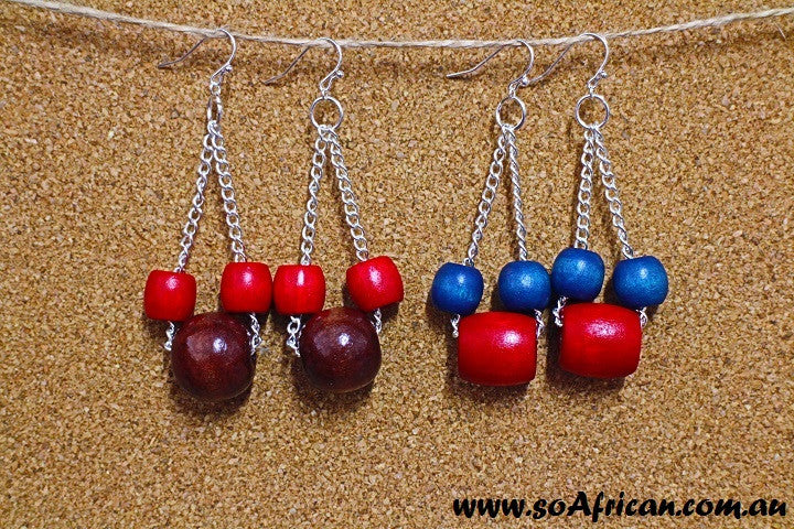 Wooden Earrings - Large Round Bead (Blue or Dark Brown) and Small Bright