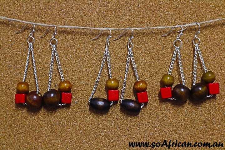 Wooden Earrings - Brown and Red