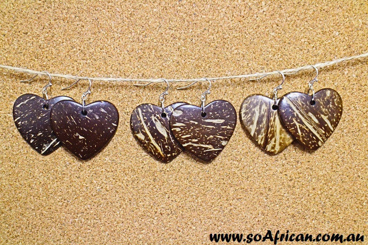 Coconut Shell Earring - Hearts