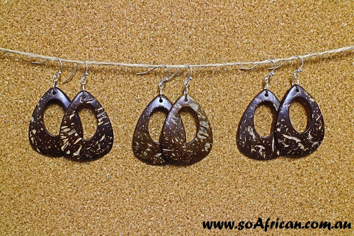 Coconut Shell Earring - Water Drop