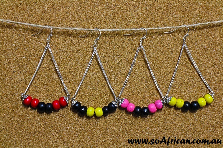 Wooden Earrings - Small Bright Beads