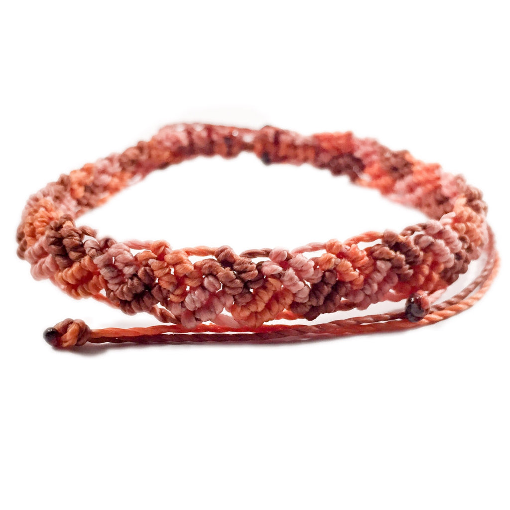 Braided Tri-Color Red Woods Bracelet