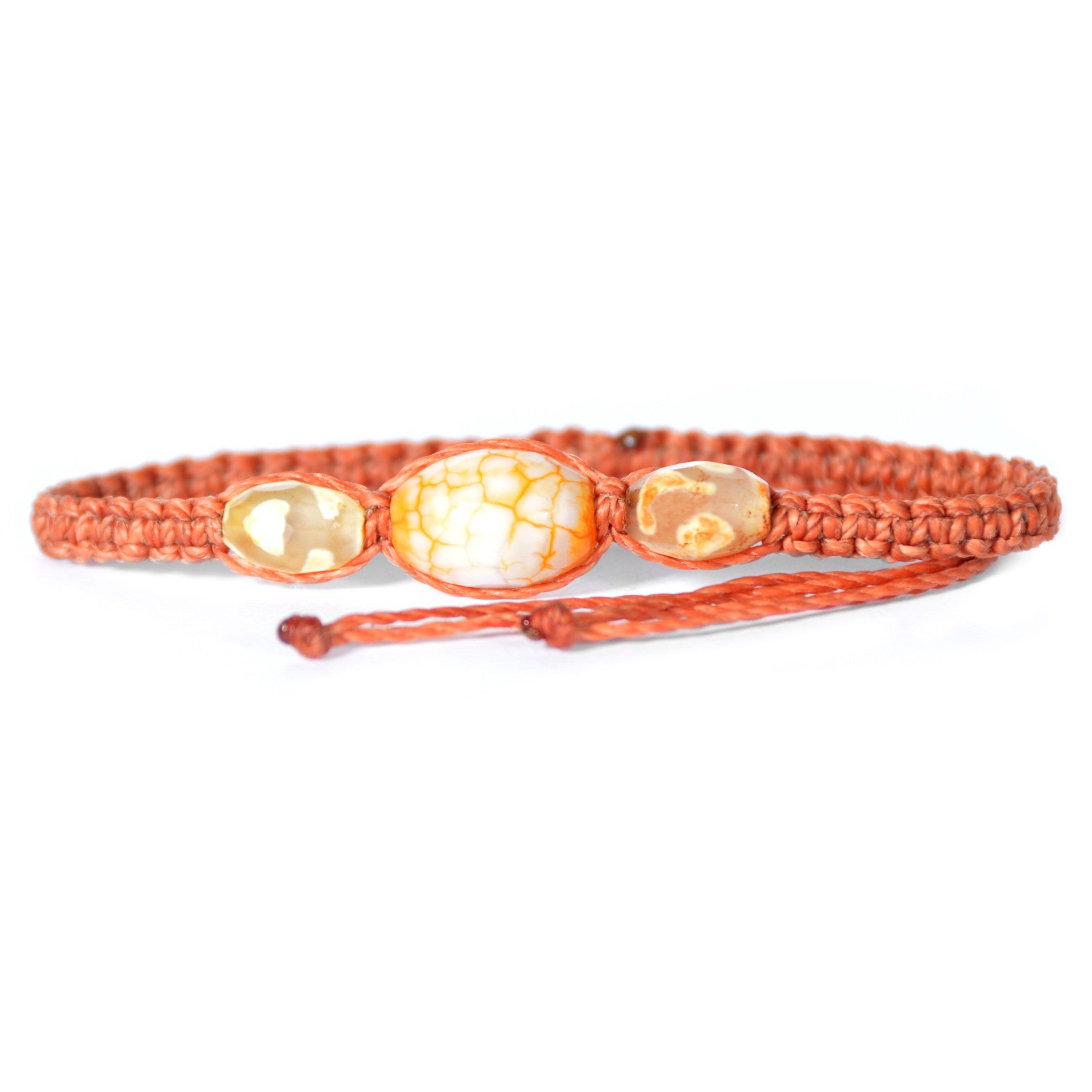 Beaded Artisan Glass Bracelet Burnt Orange