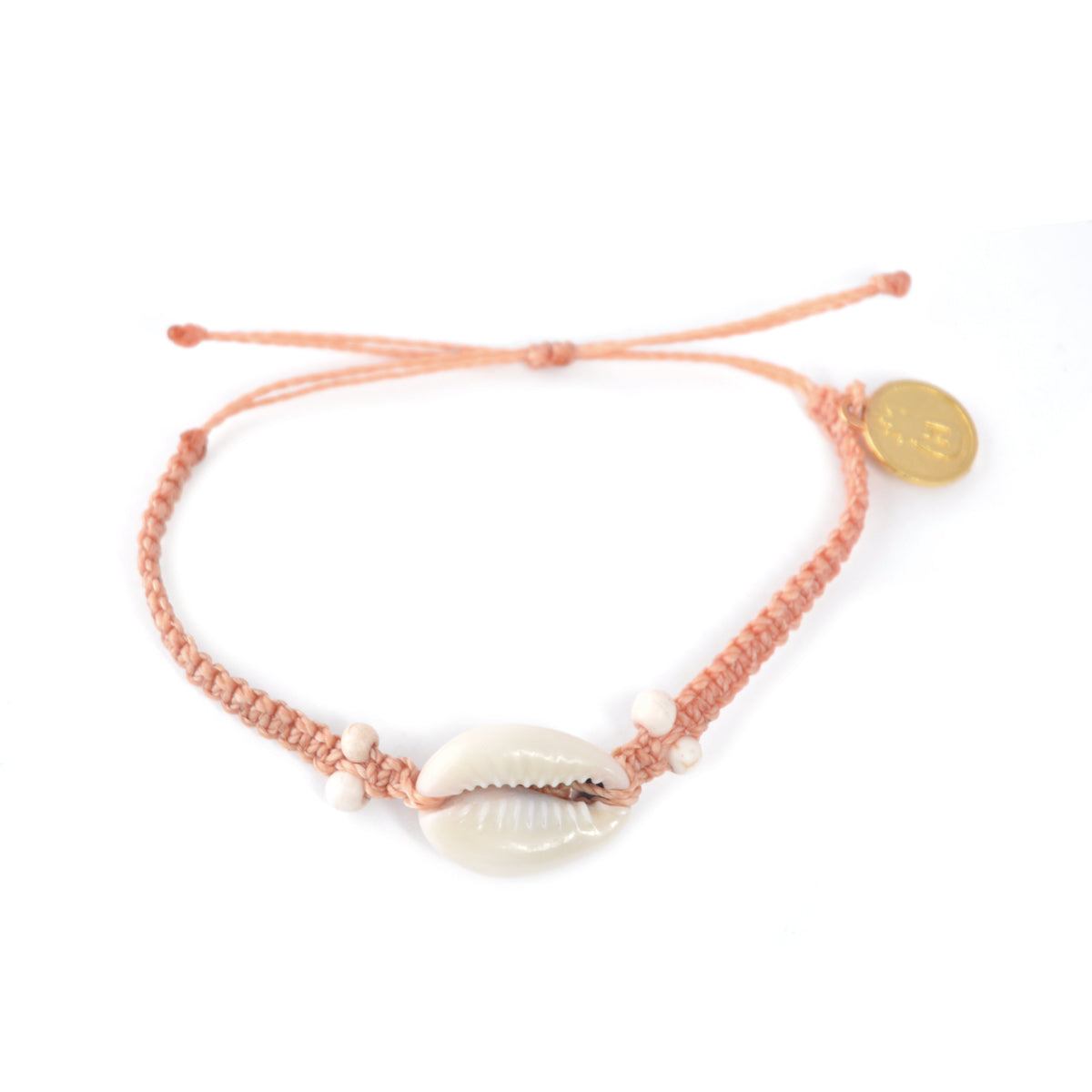 Cowrie Shell Bracelet Coral Orange